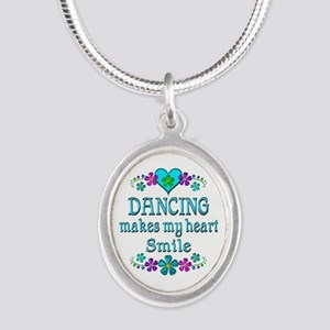 Dancing Smiles Silver Oval Necklace