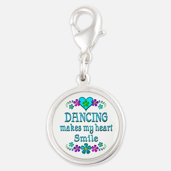Dancing Smiles Silver Round Charm