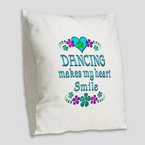 Dancing Smiles Burlap Throw Pillow