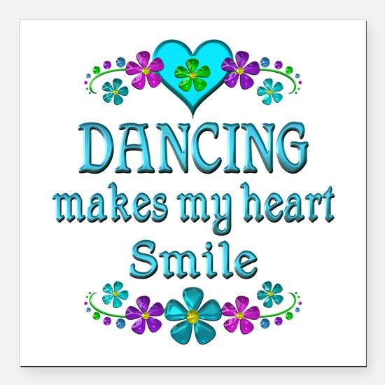 "Dancing Smiles Square Car Magnet 3"" x 3"""
