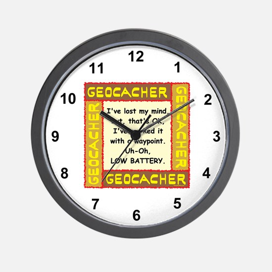 Brown Geocacher Lost Mind Wall Clock