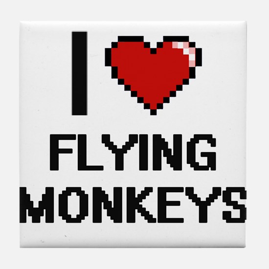 I love Flying Monkeys digital design Tile Coaster