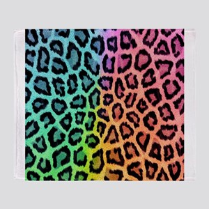 leopard rainbow bg Throw Blanket