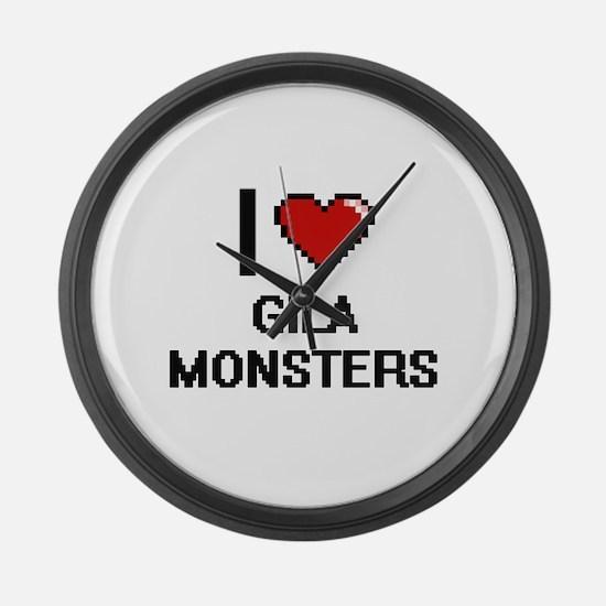 I love Gila Monsters digital desi Large Wall Clock