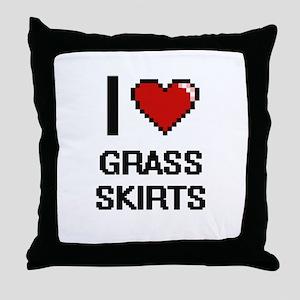 I love Grass Skirts digital design Throw Pillow