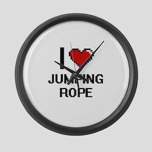 I love Jumping Rope digital desig Large Wall Clock