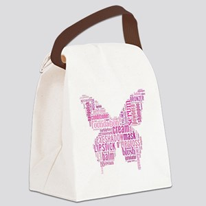 Pink Makeup Word Butterfly Canvas Lunch Bag