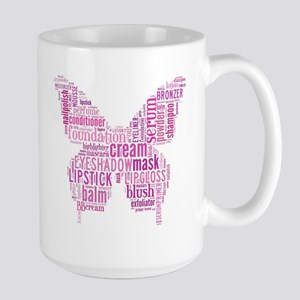 Pink Makeup Word Butterfly Large Mug
