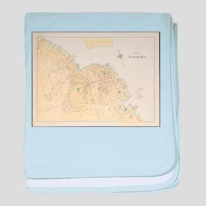Vintage Map of Bar Harbor Maine (1897 baby blanket
