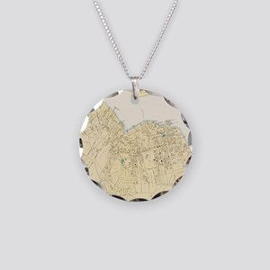 Vintage Map of Bar Harbor Ma Necklace Circle Charm