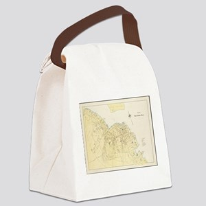 Vintage Map of Bar Harbor Maine ( Canvas Lunch Bag