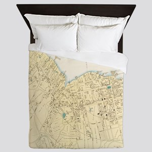 Vintage Map of Bar Harbor Maine (1897) Queen Duvet
