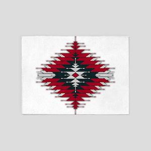 Native Style Red/Black Sunburst 5'x7'Area Rug