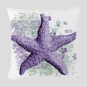Timeless Purple Starfish Woven Throw Pillow