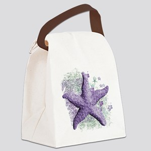 Timeless Purple Starfish Canvas Lunch Bag