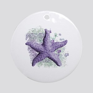 Timeless Purple Starfish Round Ornament