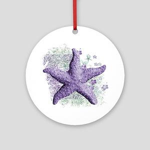 Timeless Purple Starfish Round Ornament