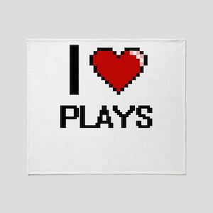 I love Plays digital design Throw Blanket