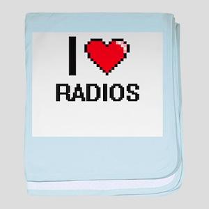 I love Radios digital design baby blanket