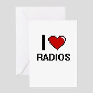 I love Radios digital design Greeting Cards