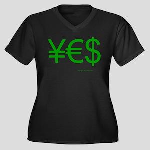 Yen Euro Dollar Women's Plus Size V-Neck Dark T-Sh