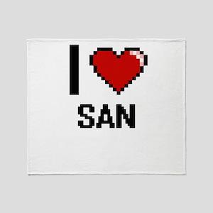 I love San digital design Throw Blanket