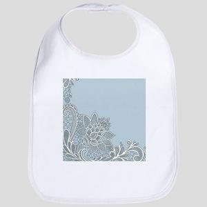 white lace pastel blue Bib