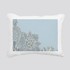 white lace pastel blue Rectangular Canvas Pillow