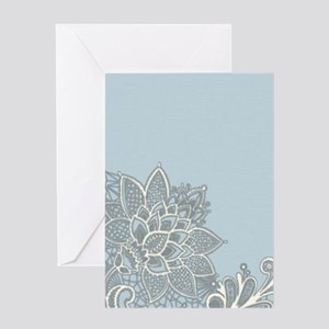white lace pastel blue Greeting Cards