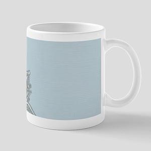 white lace pastel blue Mugs