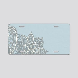 white lace pastel blue Aluminum License Plate