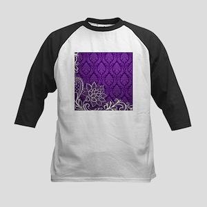 purple damask white lace Baseball Jersey