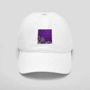 purple damask white lace Cap
