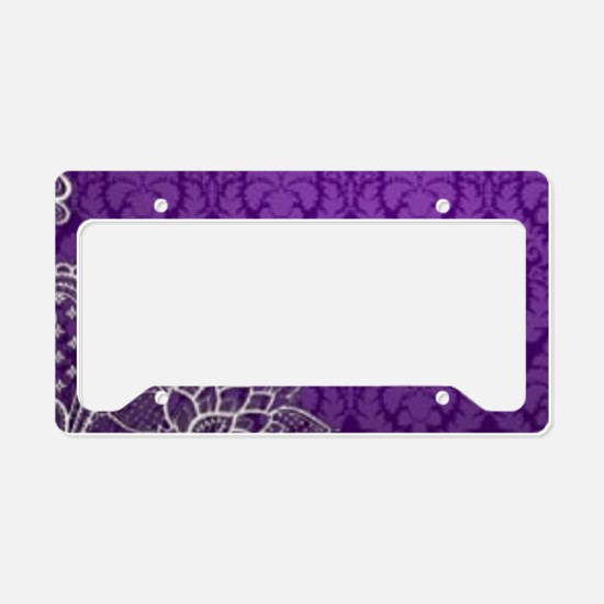 purple damask white lace License Plate Holder