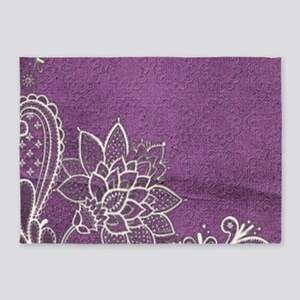 purple abstract white lace 5'x7'Area Rug