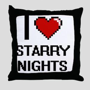 I love Starry Nights digital design Throw Pillow