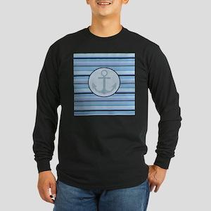 blue anchor nautical stripes Long Sleeve T-Shirt
