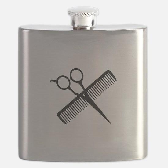 SCISSORS AND COMB Flask