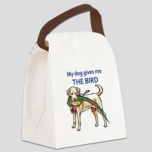 DOG GIVES ME THE BIRD Canvas Lunch Bag
