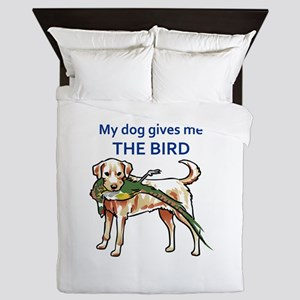 DOG GIVES ME THE BIRD Queen Duvet