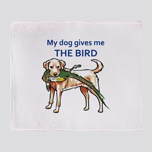 DOG GIVES ME THE BIRD Throw Blanket