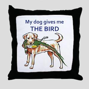 DOG GIVES ME THE BIRD Throw Pillow