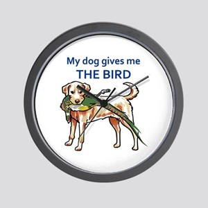 DOG GIVES ME THE BIRD Wall Clock