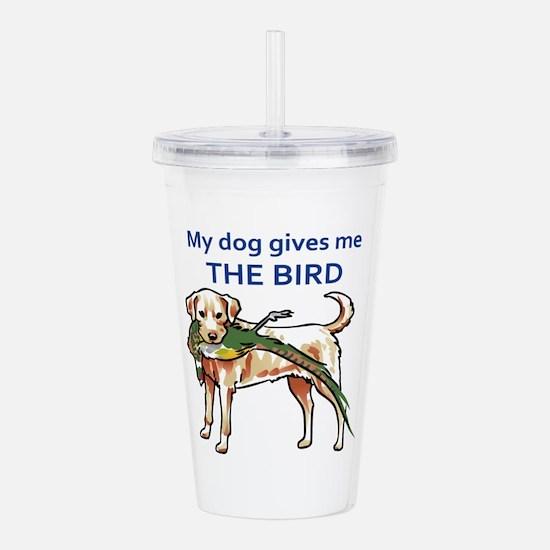 DOG GIVES ME THE BIRD Acrylic Double-wall Tumbler