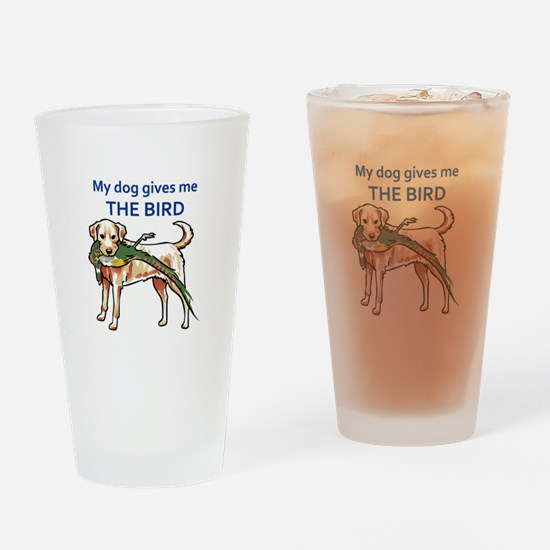 DOG GIVES ME THE BIRD Drinking Glass