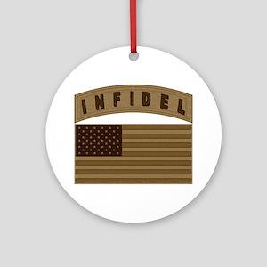 Desert US Infidel Patch Ornament (Round)