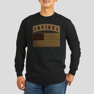 Desert US Infidel Patch Long Sleeve Dark T-Shirt