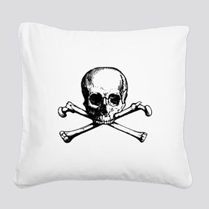 Skull and Bones Square Canvas Pillow