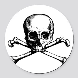 Skull and Bones Round Car Magnet