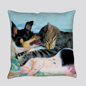 Rat Terrier with Cat Everyday Pillow